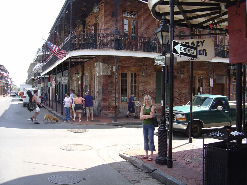 Kate on Bourbon Street.  French Quarter, New Orleans.