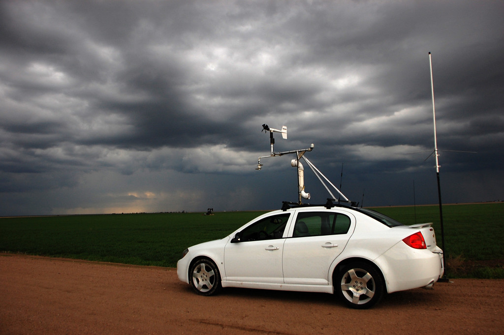 . The Chevrolet Cobalt that the TWISTEX team used to chase the El Reno tornado is shown in this 2010 photo. During the El Reno chase the car did not have the instrumentation shown. (Photo by Ed Grubb)