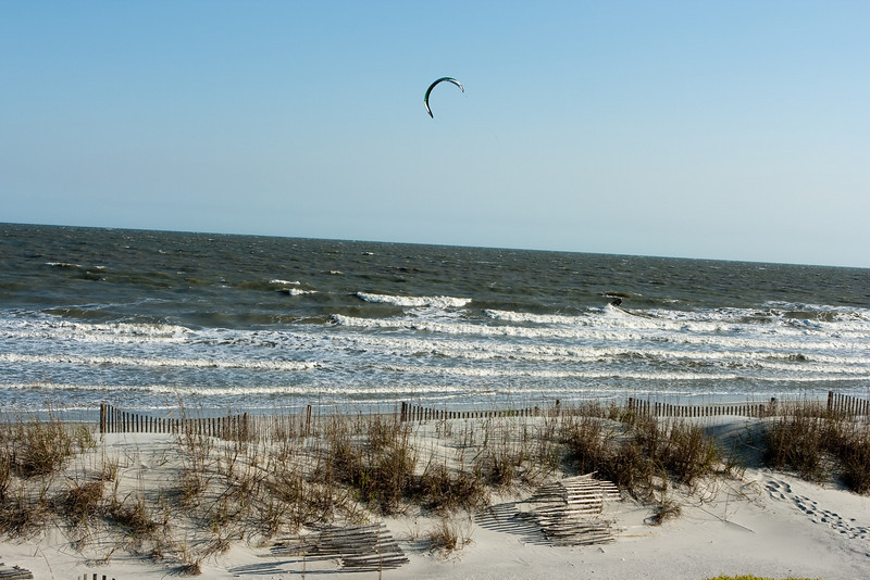 Kitesurfer traveling by.