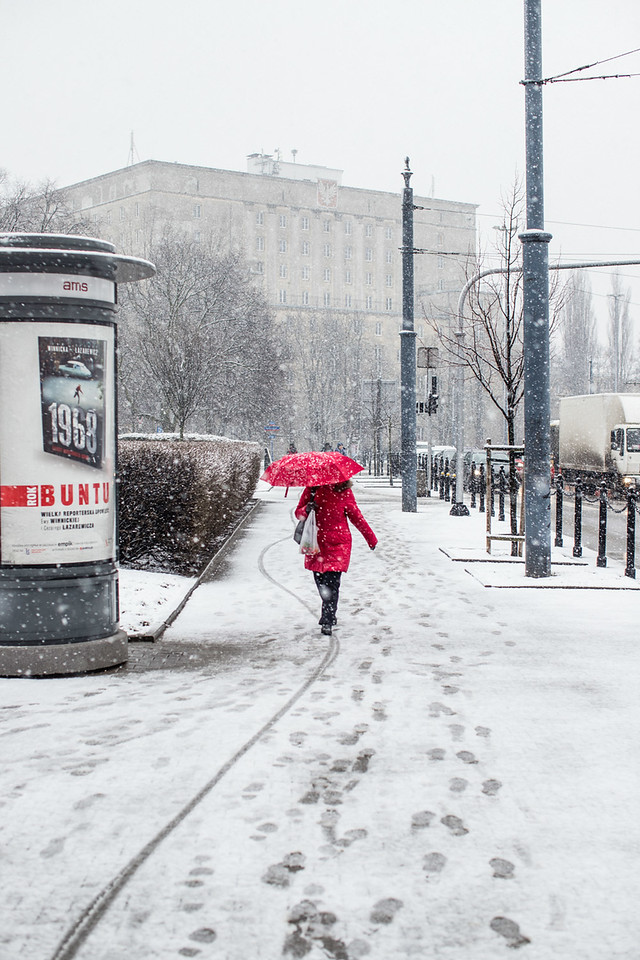 Spring Snowday in Ochota, Warsaw