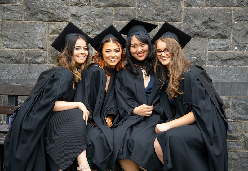 30/10/2019.  Waterford Institute of Technology (WIT) Conferring Ceremonies. Pictured are Megan Power Waterford, Chloe Driver Clonmel who graduated in Bachelor of Arts Hons in Marketing & Digital Media, Zhibo Feng, Cork  and Shanghai who graduated Master of Business, Leah Doyle from Gorey, Co Wexford who graduated Bachelor of Science in Retail Managemant. Picture: Patrick Browne