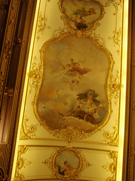 Ornate paintings on walls of Palace Theater
