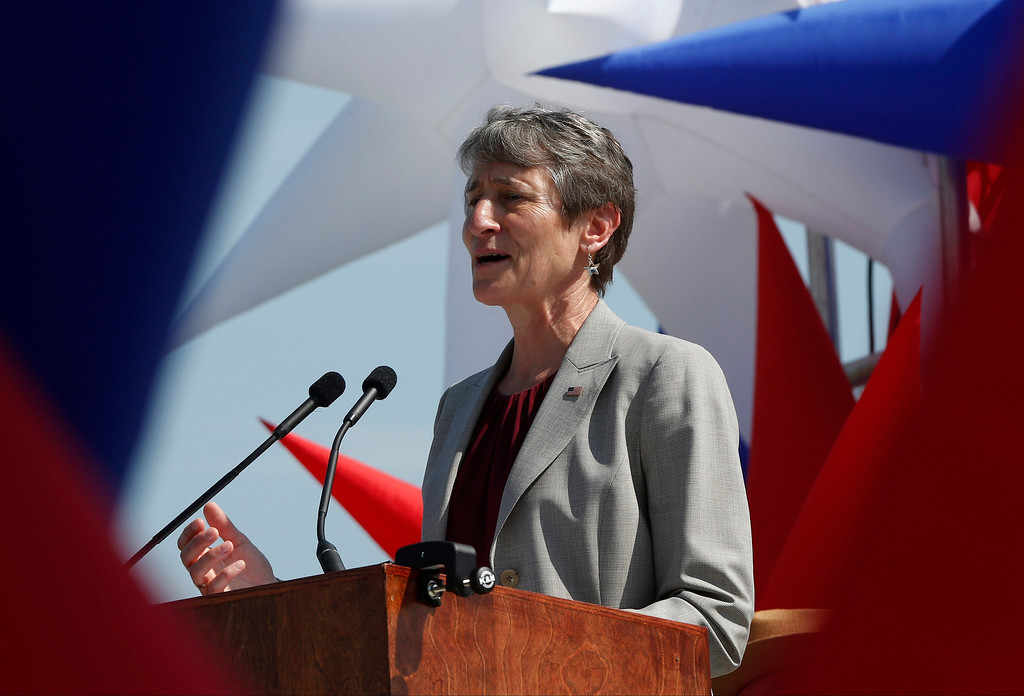 . Interior Secretary Sally Jewell speaks at the Washington Monument in Washington, Monday, May 12, 2014, during a ceremony to celebrate its re-opening.  (AP Photo)