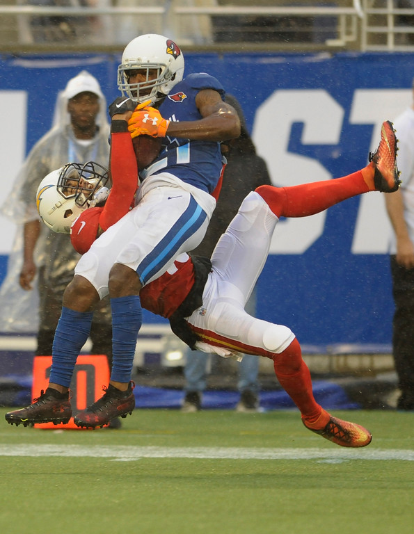 . NFC cornerback Patrick Peterson (21), of the Arizona Cardinals, intercepts a pass intended for AFC wide receiver Keenan Allen (13), of the Los Angeles Chargers, during the second half of the NFL Pro Bowl football game, Sunday, Jan. 28, 2018, in Orlando, Fla. (AP Photo/Steve Nesius)