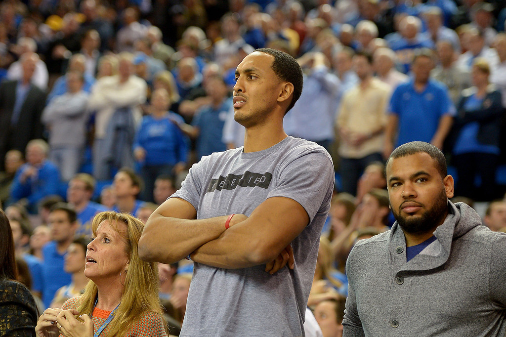 . Clippers center and ex-Bruin Ryan Hollins watches as Arizona pulls away in the second half, Thursday, January 9, 2014, at Pauley Pavilion. (Photo by Michael Owen Baker/L.A. Daily News)