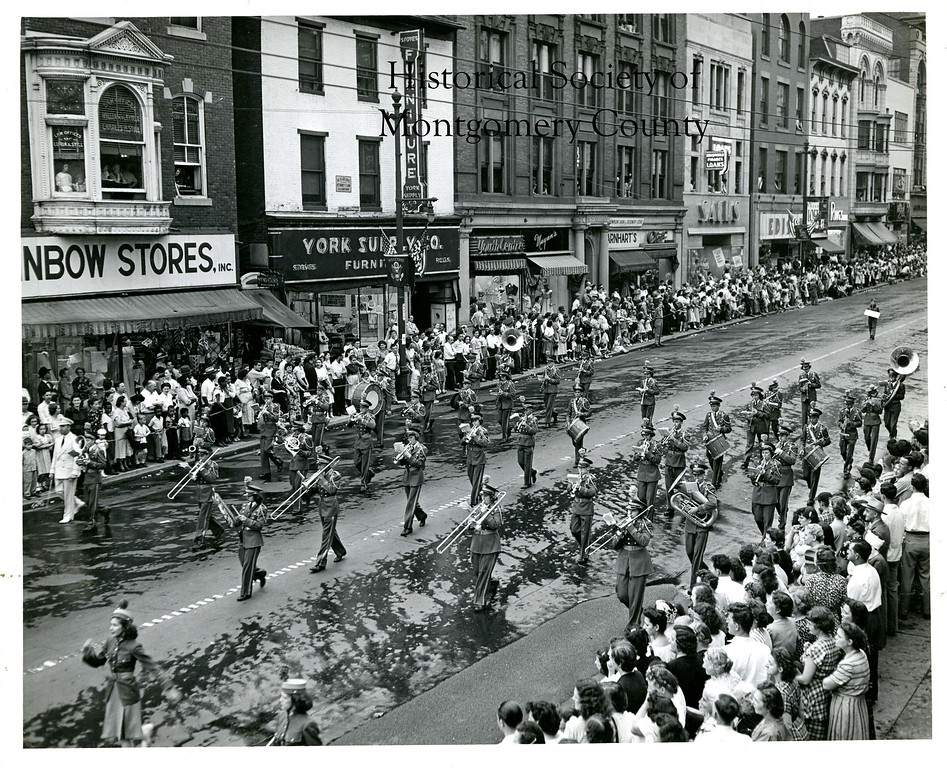 . This photo from the Historical Society of Montgomery County shows the Upper Merion High School band marching in York, Pa. in 1949.