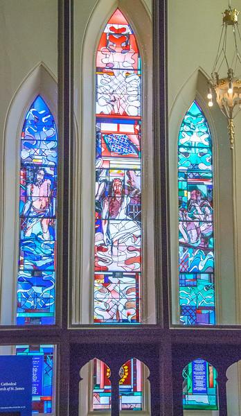 South West porch - The Calling of St James <br> glass by Stuart Reid, Toronto
