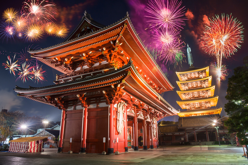 Fireworks over Senso-ji Temple on New Year's Eve