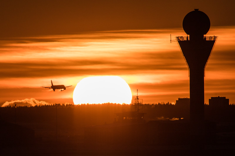 Sunset behind Helsinki Airport