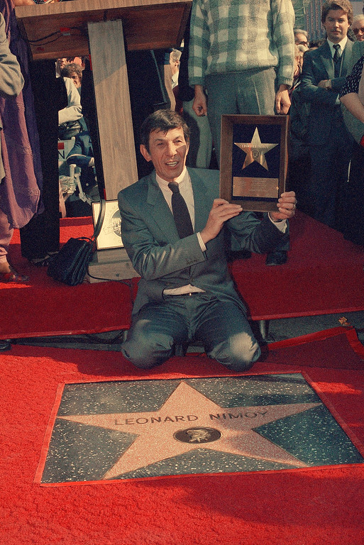 . Leonard Nimoy receives star on Hollywood Walk of Fame Jan. 16, 1985 in Los Angeles. (AP Photo/Wally Fong)