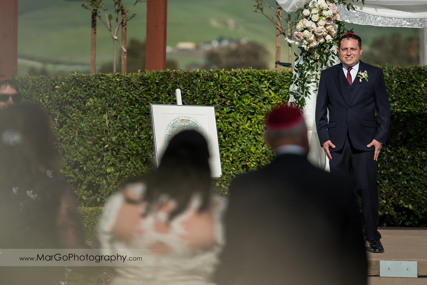 jewish groom waiting for the bride during wedding ceremony at Livermore Garre Vineyard and Winery