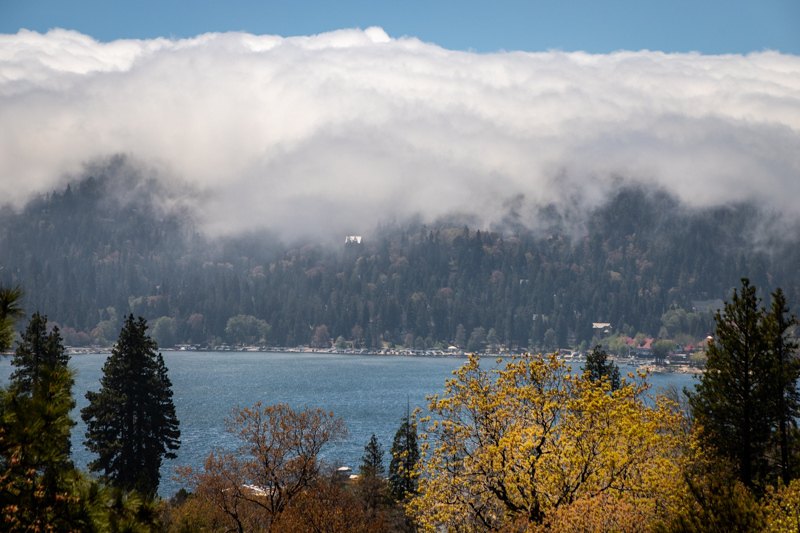 April 29 - Lake Arrowhead from the Zen Deck as the fog crawls over the mountains.jpg
