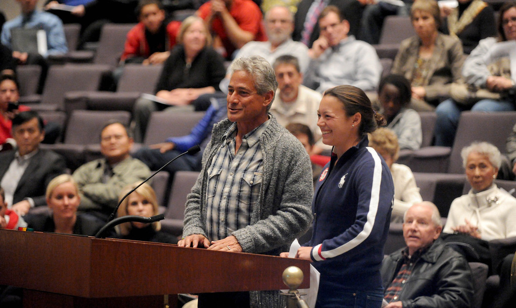 . 2-12-2013--(LANG Staff Photo by Sean Hiller)- Olympic diver Greg Louganis and Cassidy Krug, an Olympic diver in the 2012 summer games, attend Tuesday\'s Long Beach City Council meeting to participate in the discussion to build a temporary Belmont Pool in advance of building a replacement for the old pool, which has been deemed seismically unsafe.