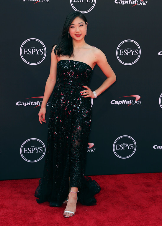 . Figure skater Mirai Nagasu arrives at the ESPY Awards at Microsoft Theater on Wednesday, July 18, 2018, in Los Angeles. (Photo by Willy Sanjuan/Invision/AP)