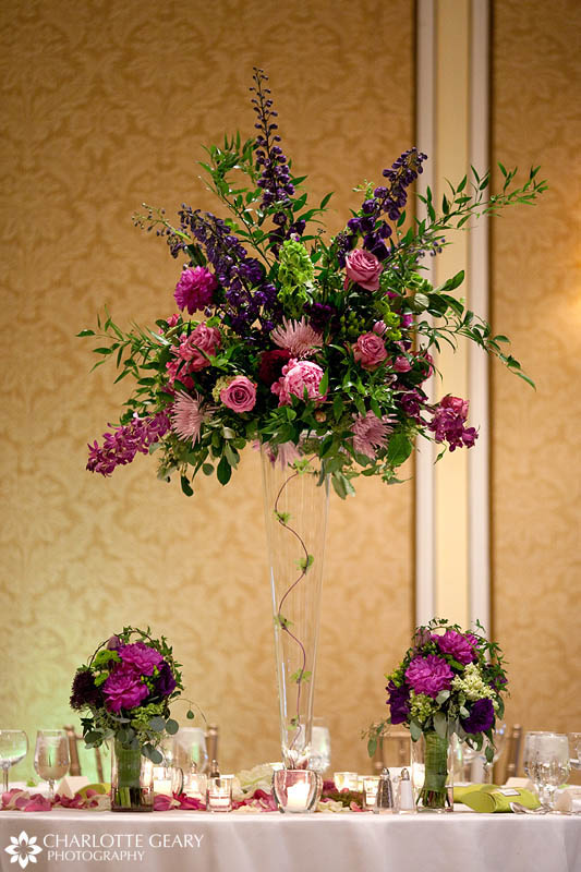 Pink and purple wedding centerpiece