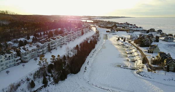 Drone Bay Harbor and Petoskey winter