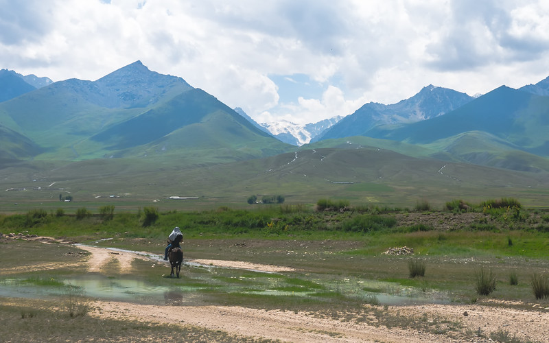 A horse trek from Jaichy Yurt Camp to a nearby glacier  in South Shore of Lake Issyk-Kul.