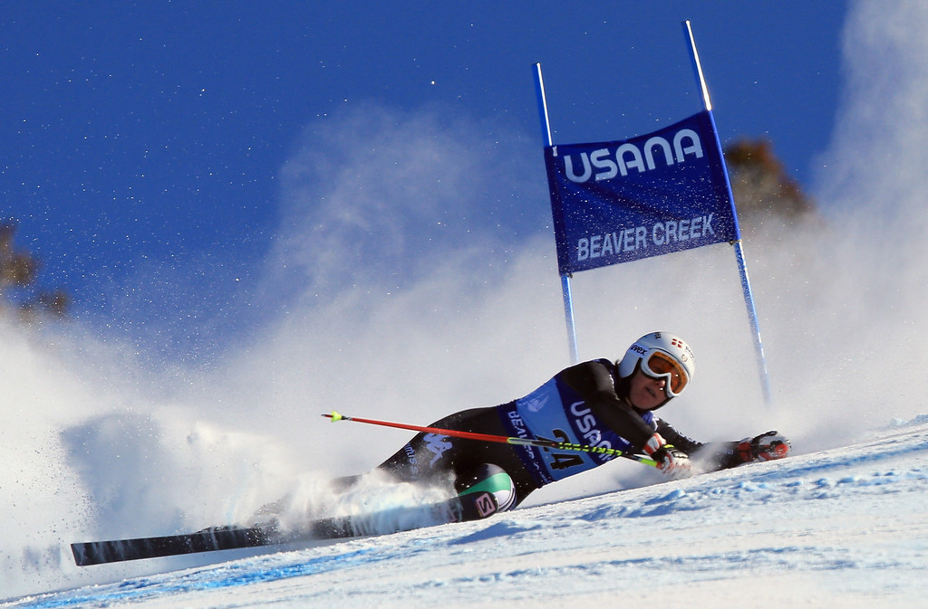 . Daniela Merighetti of Italy crashes during the ladies\' Super G on Raptor at the Audi FIS Ski World Cup at Beaver Creek on November 30, 2013 in Beaver Creek, Colorado.  (Photo by Doug Pensinger/Getty Images)