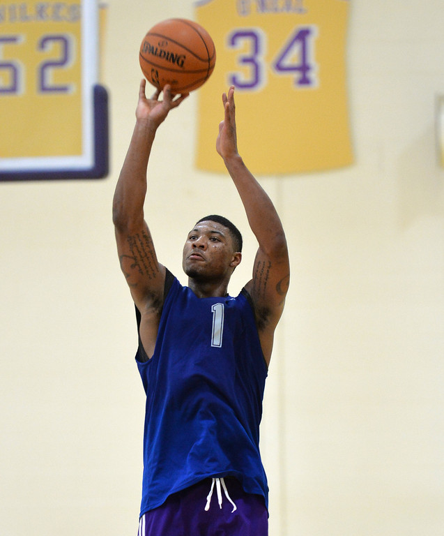 . Lakers pre-draft workout at Toyota Sports Center Wednesday June 4, 2014. Marcus Smart, Oklahoma St.      Photo By  Robert Casillas / Daily Breeze