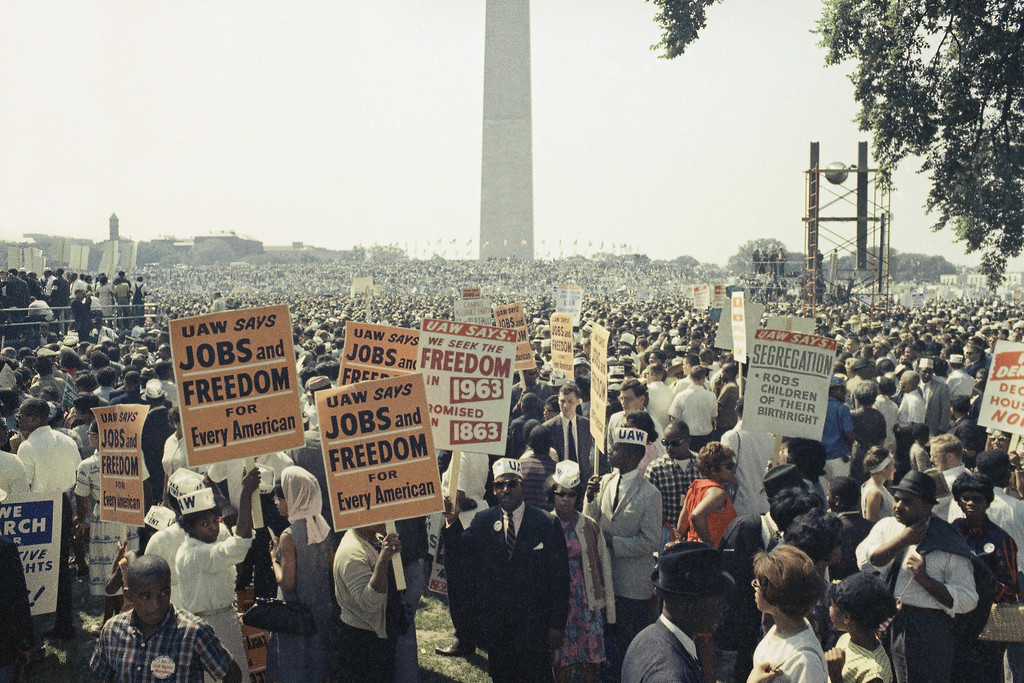. Large crowds gather near the Washington Monument to demonstrate for the civil rights movement in Washington, D.C. on August 28, 1963. (AP Photo)