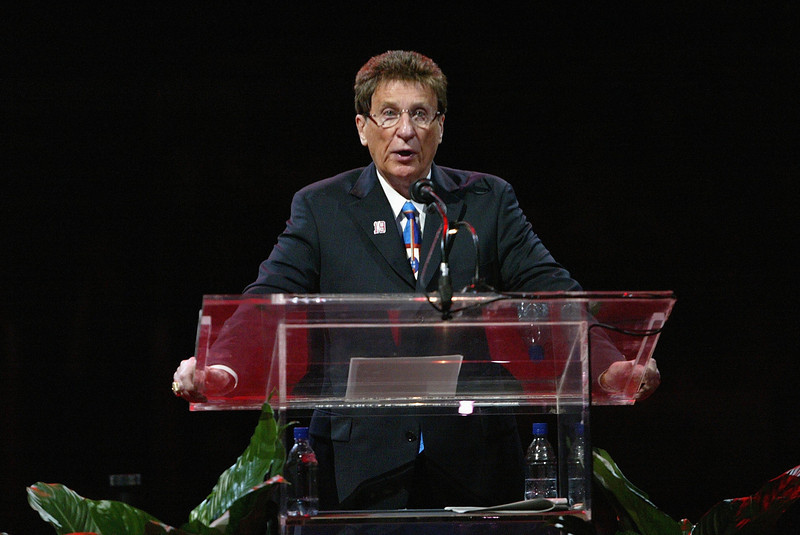 . DETROIT - JANUARY 2:  Detroit Red Wings owner Mike Ilitch speaks at the jersey retirement ceremony for Steve Yzerman before the Detroit Red Wings game against the Anaheim Ducks at Joe Louis Arena on January 2, 2007 in Detroit, Michigan. The Red Wings won 2-1. (Photo by Dave Sandford/Getty Images)