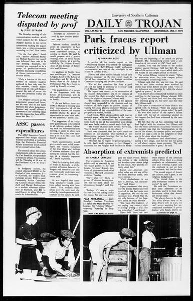 Daily Trojan, Vol. 61, No. 63, January 07, 1970