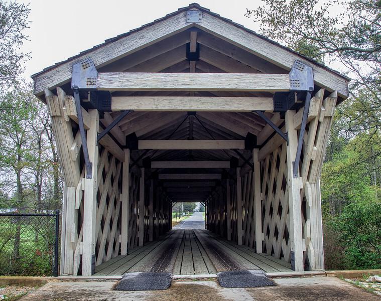 Covered bridgein  Hurricane Shoals  County Park  in Maysville, Ga.