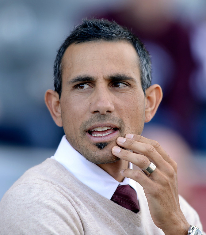 . Colorado coach Pablo Mastroeni gave his players high marks despite the loss. Sporting Kansas City defeated the Colorado Rapids 3-2 Saturday evening, March 29, 2014 at Dick\'s Sporting Goods Stadium in Commerce City.  (Photo by Karl Gehring/The Denver Post)