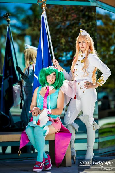 Sheryl Nome (Lady Staba) and Ranka Lee (Miss Ocha) from Macross Frontier