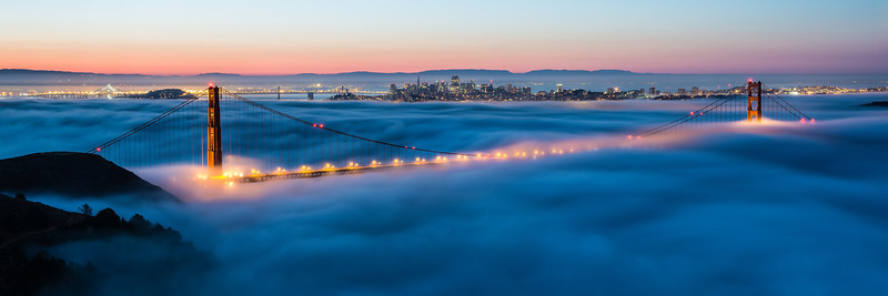 Pano crop of the low fog. I just love how the bridge is slightly revealed