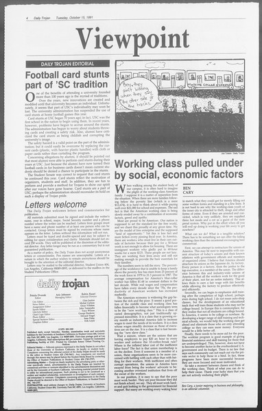 Daily Trojan, Vol. 116, No. 31, October 15, 1991