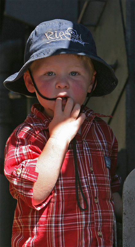 Young man exploring the footplate. (Taken with permission of his mother).