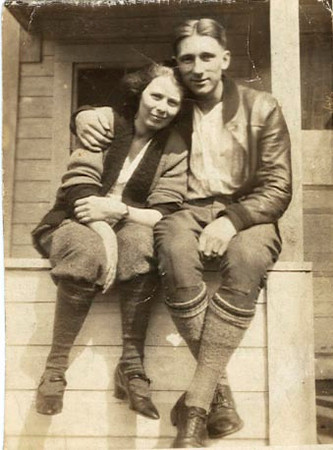 "John and Lillian Foote: ""Taken while at camp in Augusta, Maine. All by ourselves. Can you think of anything sweeter?"""