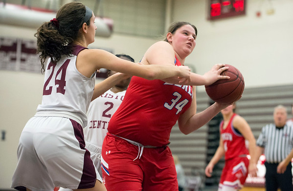 01/10/20 Wesley Bunnell | StaffrrThe Bristol Central girls basketball team was defeated at home on Friday night by Berlin. Berlin's Callie Gendron (34) with a defensive rebound.