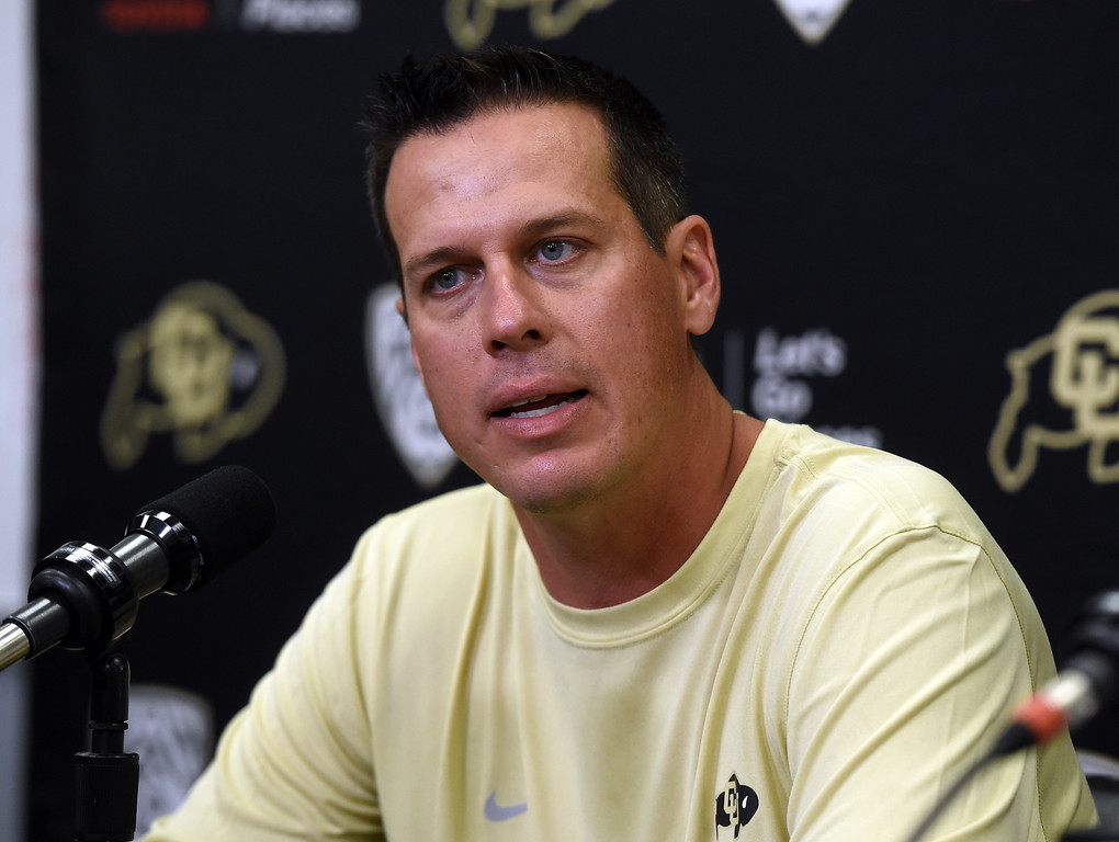 . CU defensive coordinator, D.J. Eliot, during CU football and Fall sports media day. For more photos, go to dailycamera.com. Cliff Grassmick  Staff Photographer  August 4, 2018