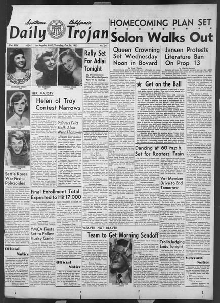 Daily Trojan, Vol. 44, No. 24, October 16, 1952