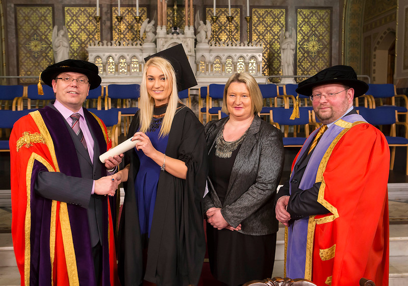 Waterford Institute Of Technology Conferring. Pictured at WIT Waterford Institute Of Technology Conferring is Debbie Hennessey, Kilmacthomas, Co. Waterford, who graduated Bachelor of Business (Honours) also pictured are Dr. Ruaidhrí Neavyn President WIT, Dr. Derek O'Byrne Registrar WIT and Frances Hennessey. Picture: Patrick Browne