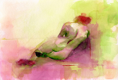 A loose, impressionist style watercolor painting of a reclining nude woman in shades of magenta, yellow-green and orange.