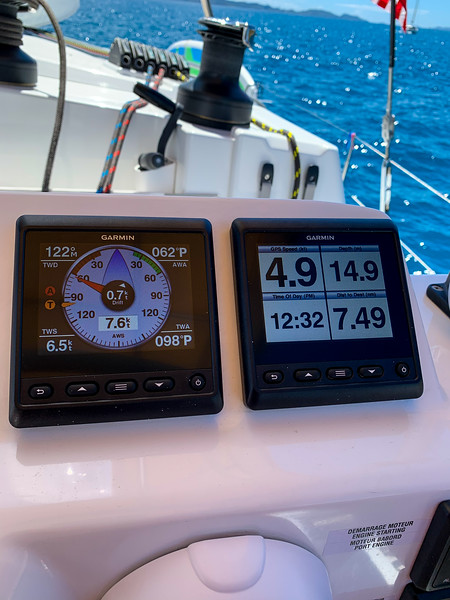 Another example of how fast she goes in light winds.  The wind was 6.5 knots and we were moving at 4.9 knots, so almost 75%