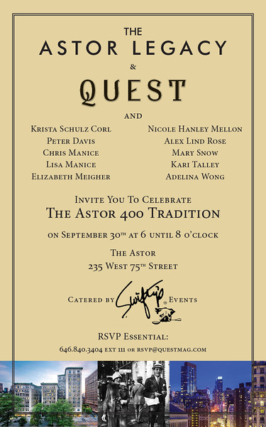 Sept 30, 2015 The Astor 400 Tradition for Quest magazine