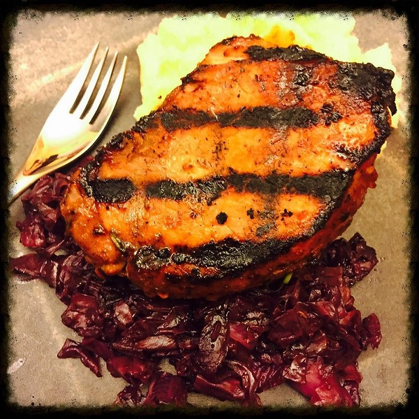 On the table tonite: Mustard's Grill's Mongolian pork chops with braised red cabbage and goat cheese mashed potatoes #food #foodie #foodgram
