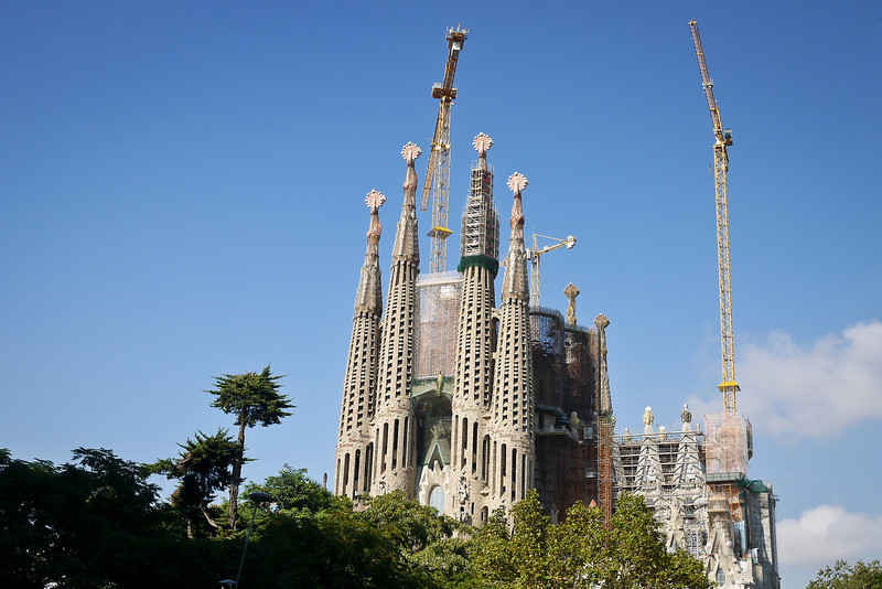 Approaching La Sagrada Familia in from the streets of Barcelona, Spain.