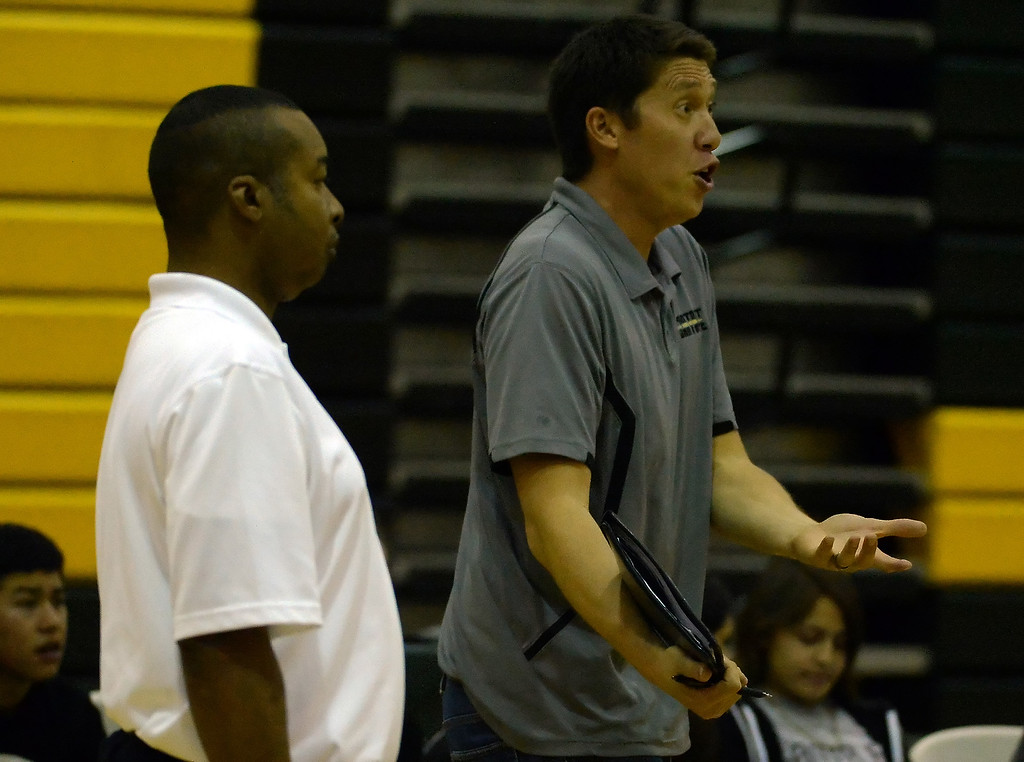 . Damien head coach Randy Bohlmann against Santa Fe in the first game of a prep volleyball match at Damien High School in La Verne, Calif., on Wednesday, May 20, 2015. Damien won 25-17, 25-19, 29-27. (Photo by Keith Birmingham/ Pasadena Star-News)