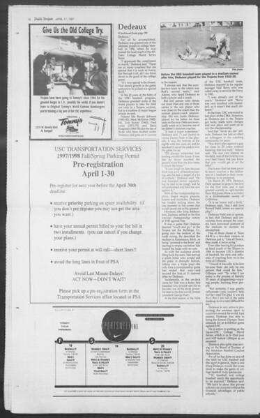 Daily Trojan, Vol. 130, No. 60, April 17, 1997