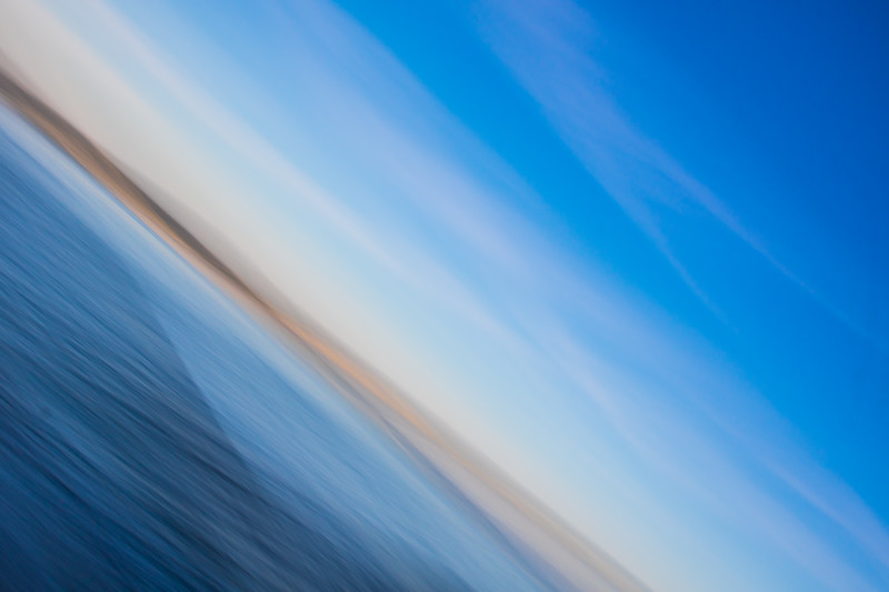 Abstract image of sunset on the Pacific Ocean - Puget Sound, Freeland, Washington, United States (US)