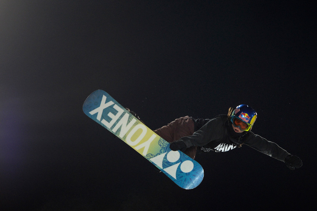 . Queralt Castellet rides during the women\'s snowboard half pipe final. Winter X Games on Saturday, January 24, 2015. (Photo by AAron Ontiveroz/The Denver Post)