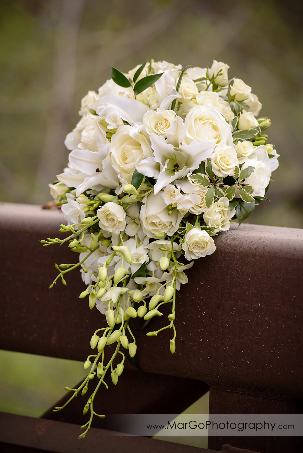bridal bouquet on the bridge at Las Positas Golf Course in Livermore