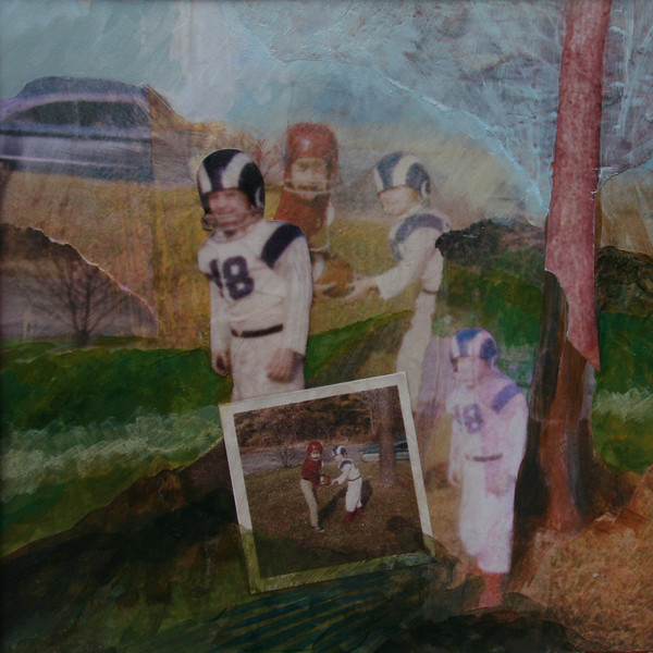 Playing Football in the Yard, 1971 (We Loved Roman Gabriel And Len Dawson) Mixed Media Collage, 2009