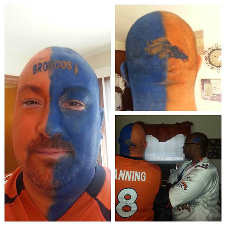 . Getting ready for the Manning vs. Manning showdown! Born in New England and raised a Broncos fan! (Submitted by Stephanie Starkweather)