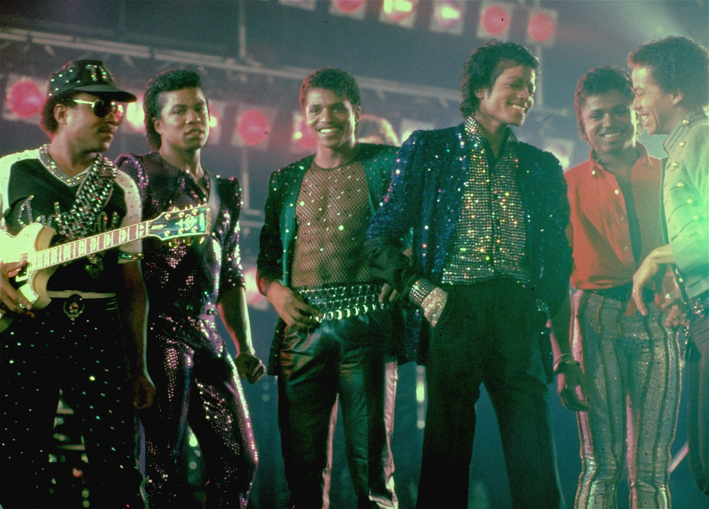 . Michael Jackson and his five brothers are seen together on the set of a Pepsi-Cola commercial.  From left to right:  Tito, Jermaine, Jackie, Michael, Randy, and Marlon Jackson.  (AP Photo)